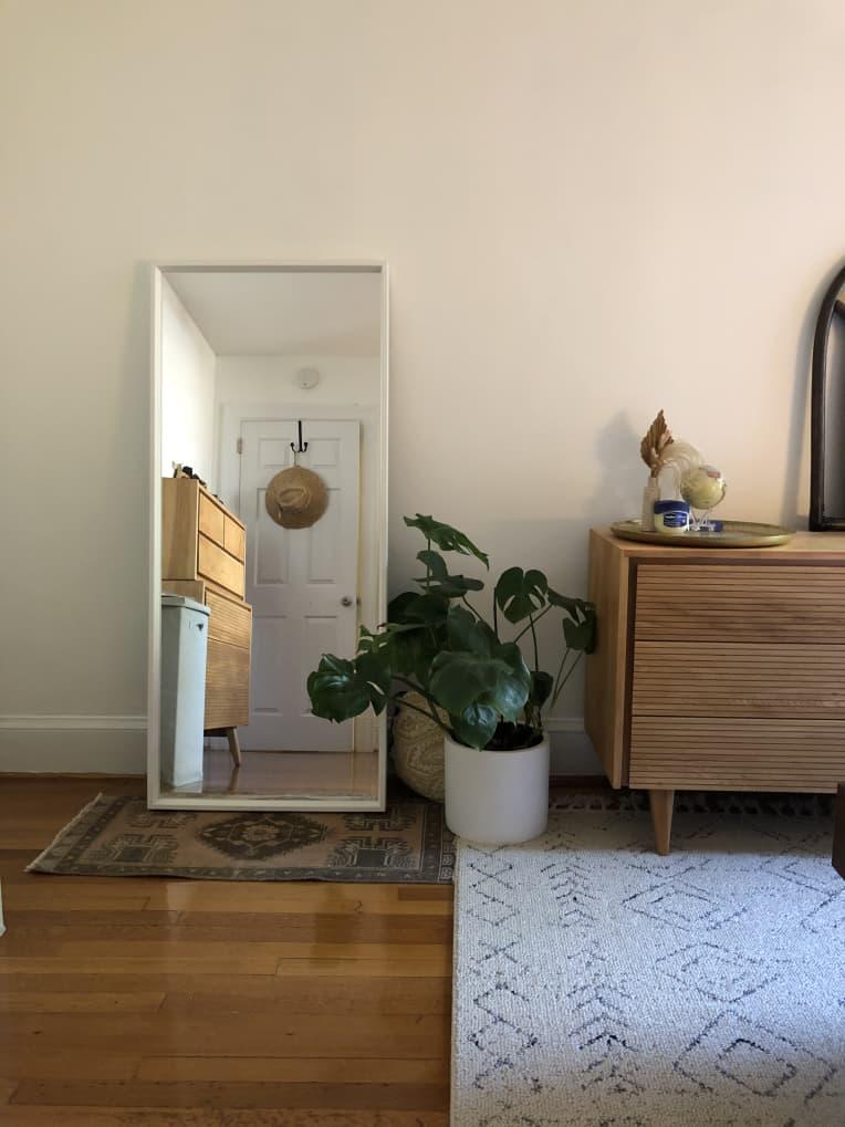 Yastik in front of a floor mirror
