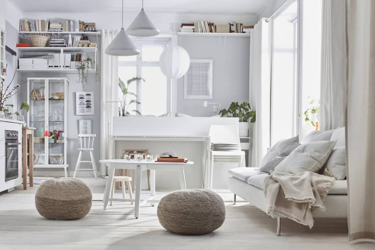 Living room with white IKEA furniture