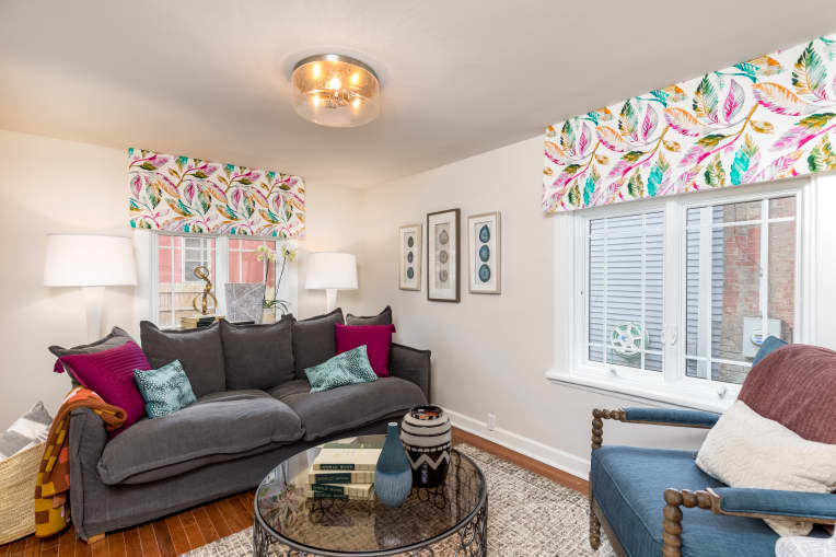 Living room with DIY valences