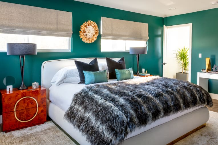 Bedroom designed by Caitlin Murray of Black Lacquer Design
