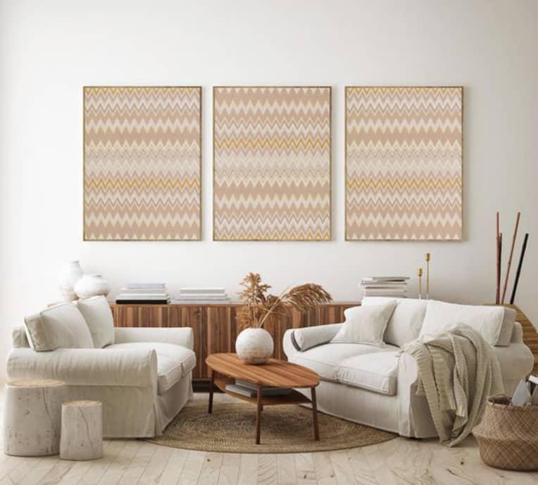 Wallpaper framed as artwork in a living room