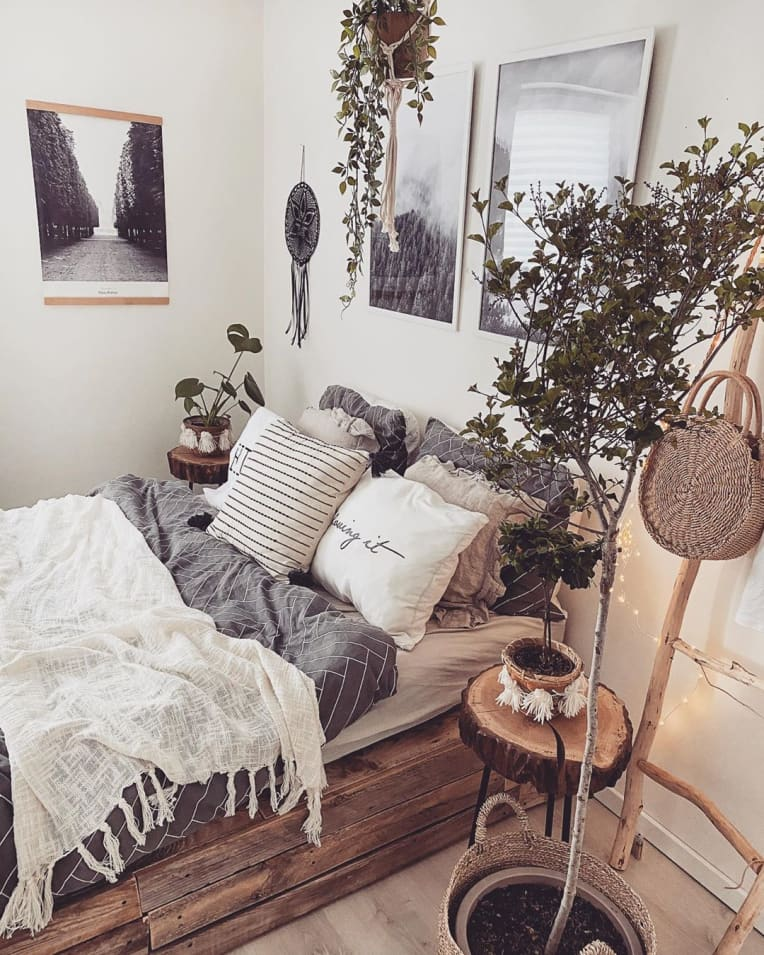 pallet bed surrounded with plants and black and white artwork