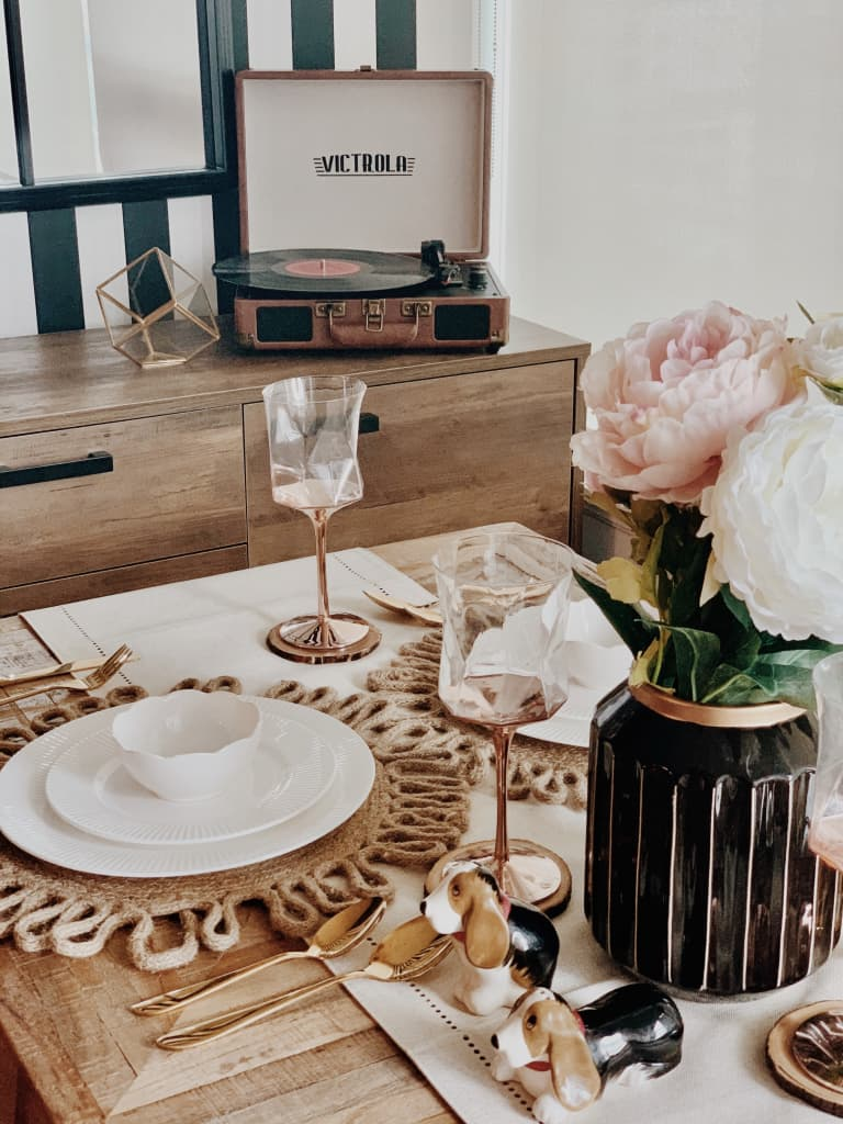Bohemian table setting on top of a wood dining table