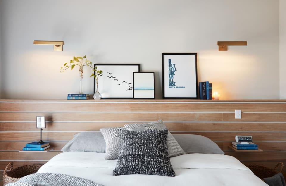 Wood slat wall-to-wall headboard by Magnolia