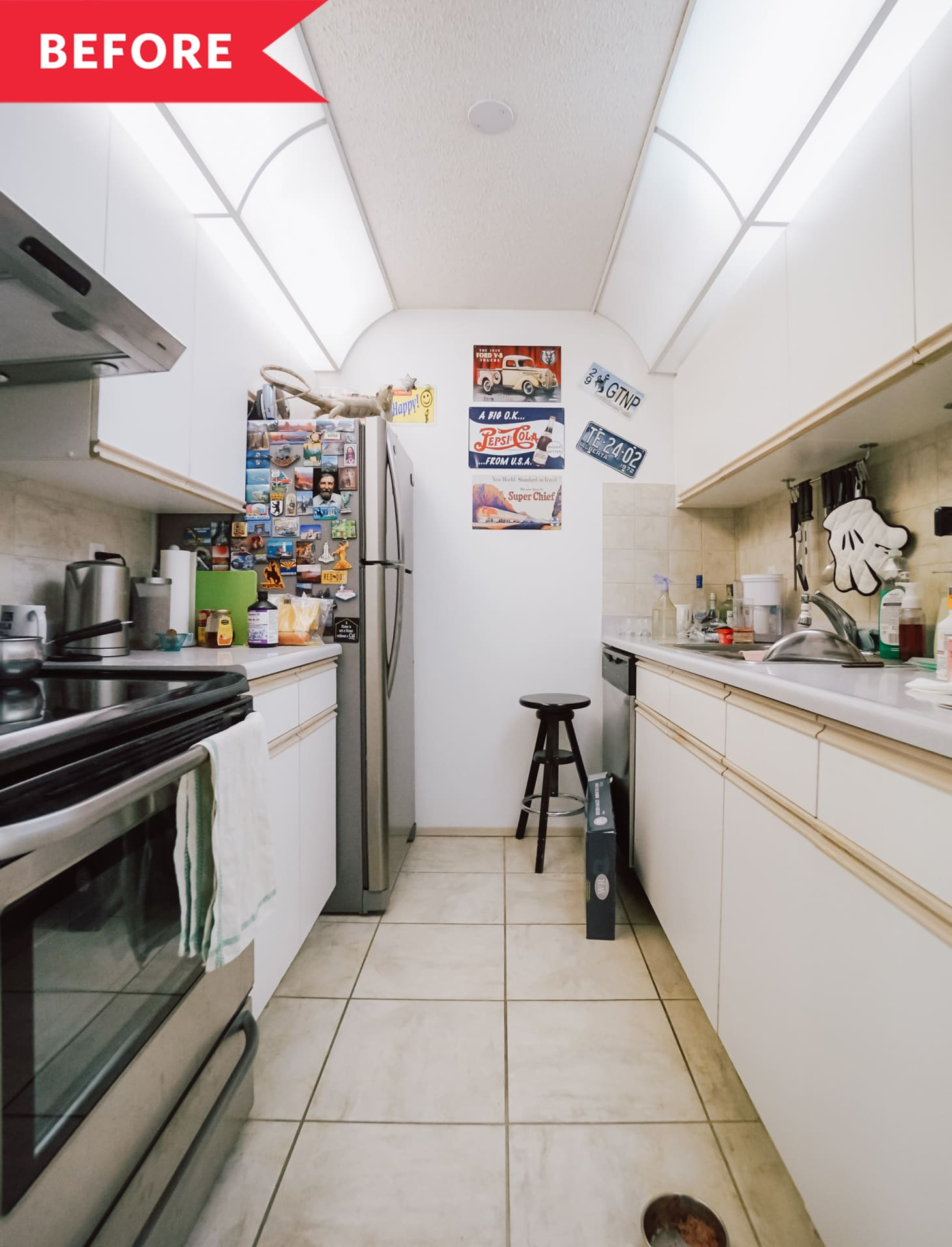 Before And After Modern Remodel Of A Dated Narrow Kitchen