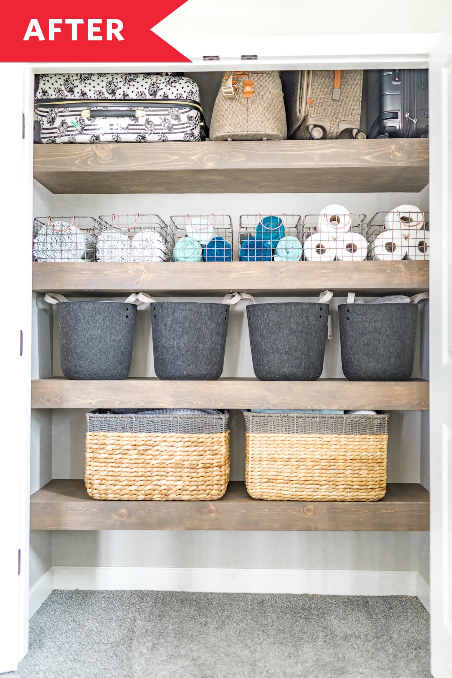 Before After An Organized Linen Closet That Actually