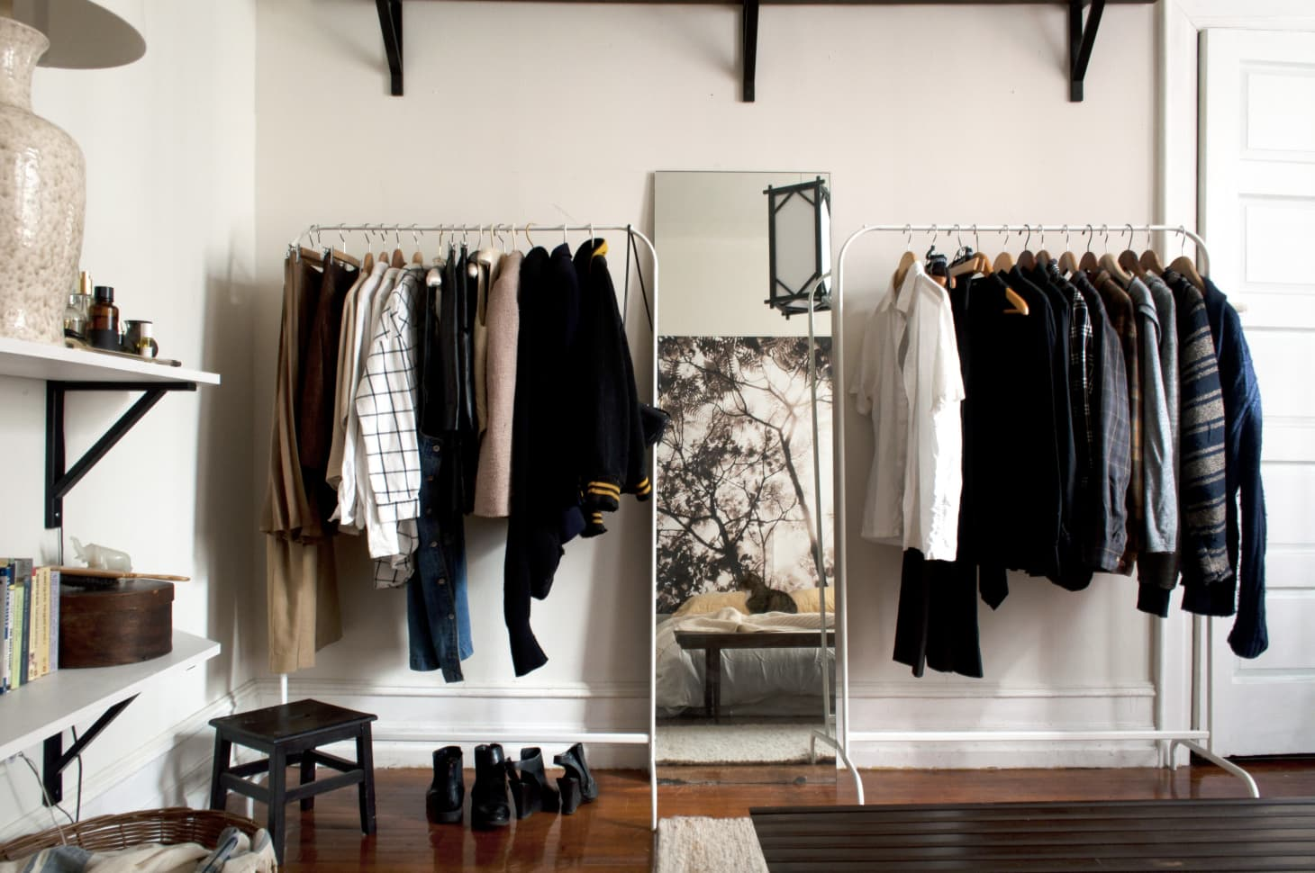 Clothing Storage Ideas Open Closet Hanging Rack Apartment Therapy