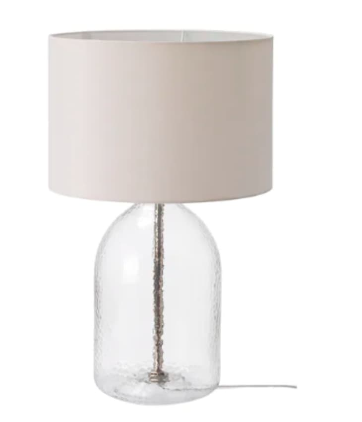Glass table lamp from IKEA with neutral shade