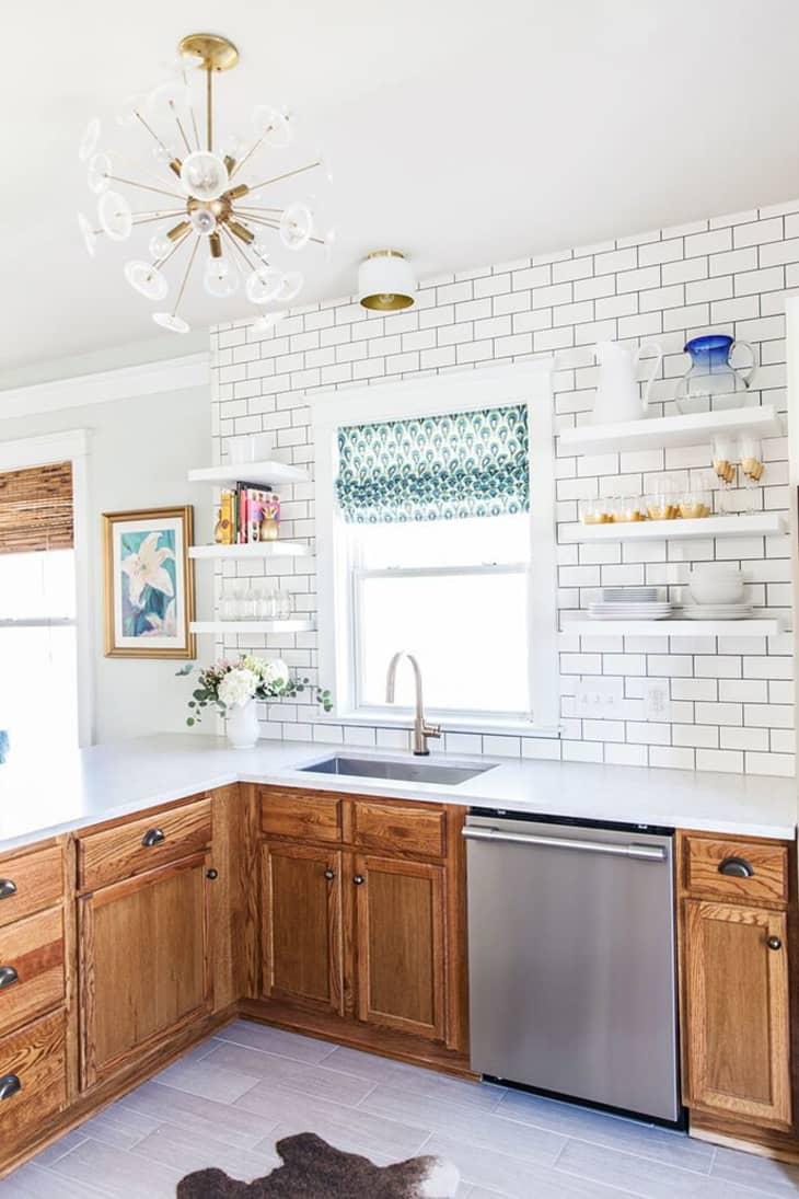 Rental Kitchen Decor Ideas - Oak Wood Finish Cabinets  Apartment