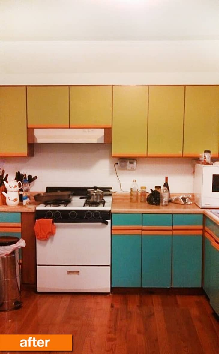 Before & After: Plain Particleboard Cabinets Get a Cheery ...