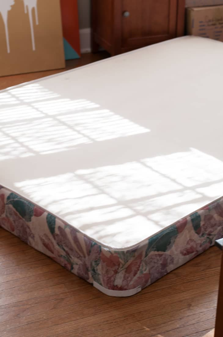 Try This Diy Project Turn An Old Box Spring Mattress Into Stand Alone Bed Frame Apartment Therapy