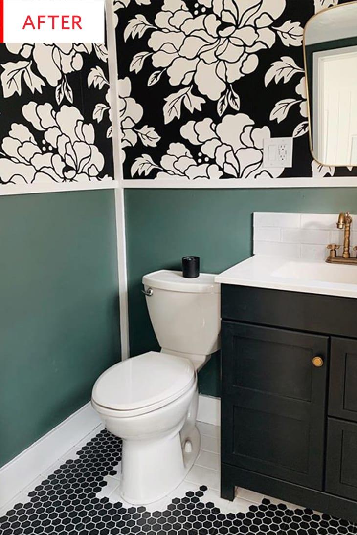 Bathroom Wallpaper Hack Hides Ugly Wall Texture ...