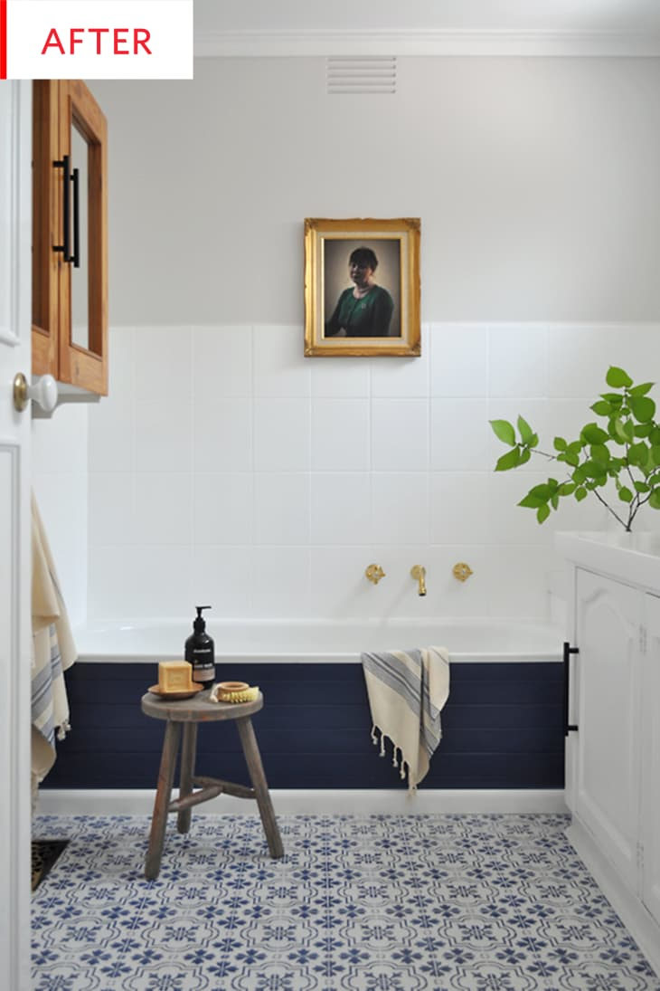 diy bathroom remodel  tile paint before after  apartment