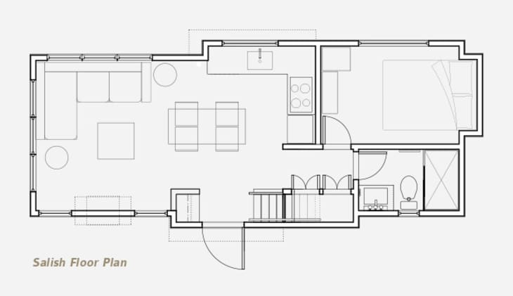 Full One Bedroom Tiny House Layout 400 Square Feet Apartment Therapy