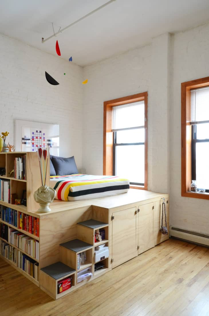 Image of: Elevated Loft Bed Hacks Ugrades Apartment Therapy