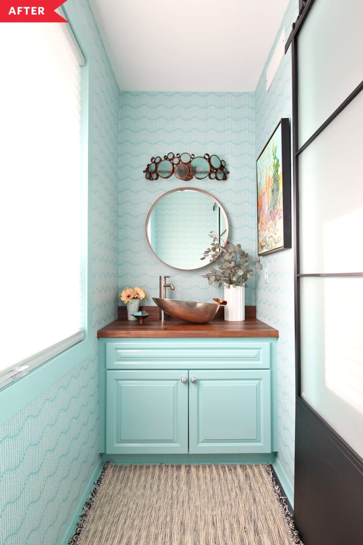 Before and After: Teal Wallpapered Powder Room Redo ...