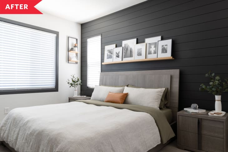 Beige Bedroom Redo Bedroom Redo With Shiplap Accent Wall Apartment Therapy