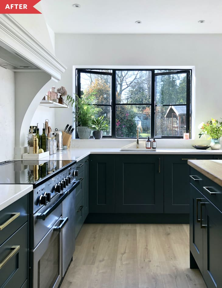 Open-Concept Kitchen with Open Shelves and Dark Base ...