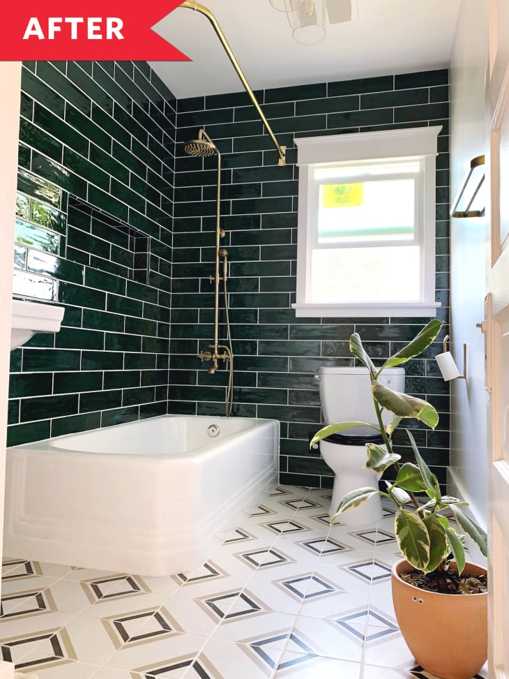 Bathroom Redo With Green Tile Walls Apartment Therapy