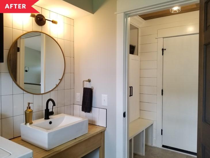 后:木质梳妆台与容器水槽望进储物柜存储区域