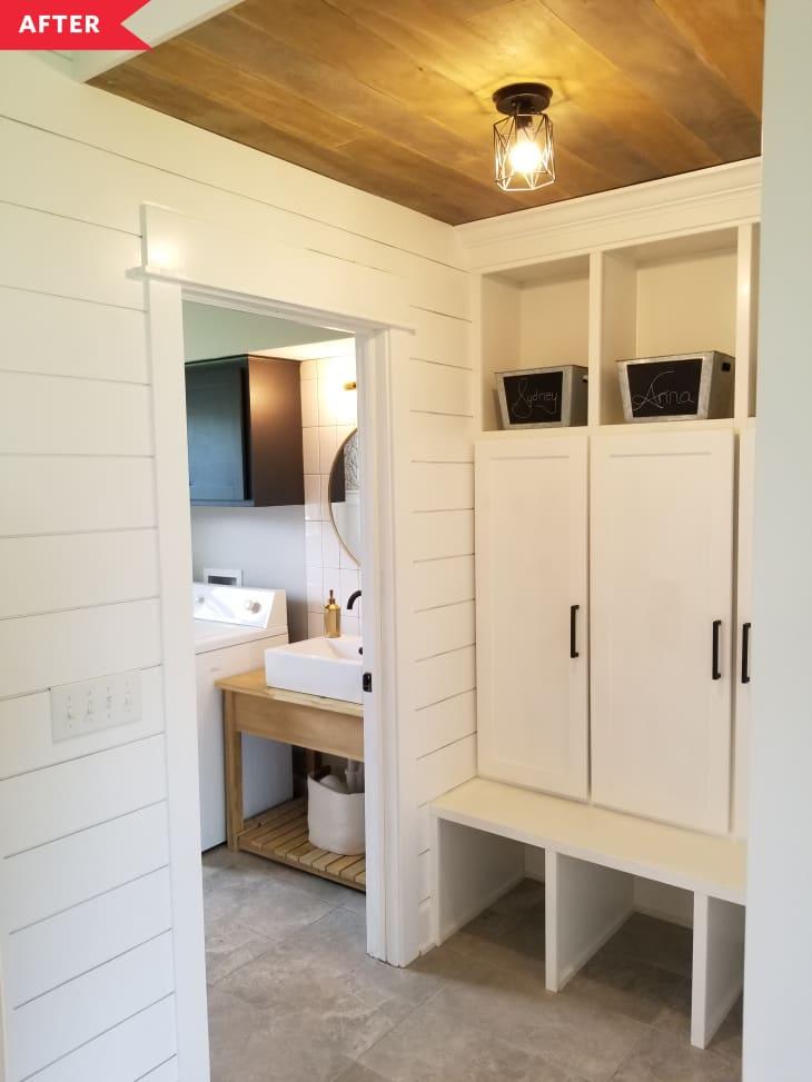 后:带储物柜的储藏室,看看洗衣房/浴室