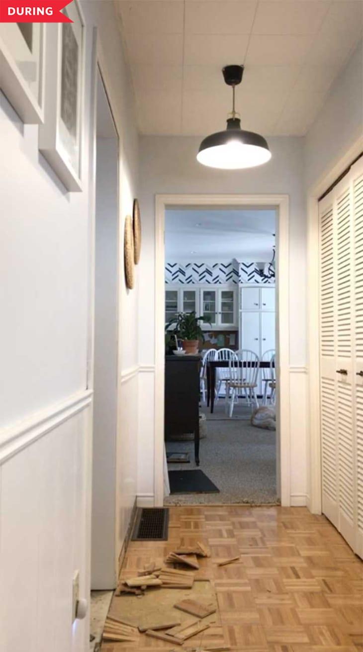 期间:移除了拼花地板的入口通道和现有的衣橱