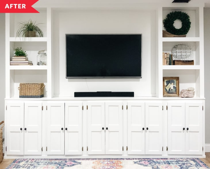 Diy White Living Room Built Ins Apartment Therapy