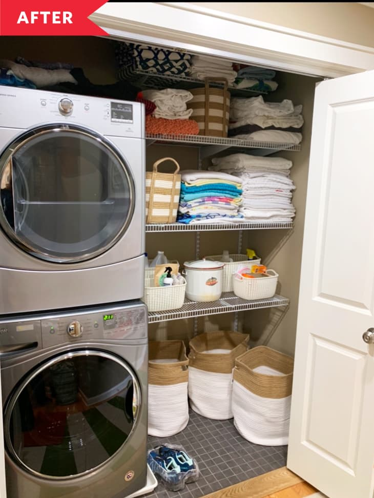 Before And After A Laundry Closet Gets An Organizational Makeover Apartment Therapy