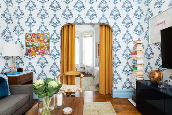 Curtain as a divider in Megan Hopp's apartment
