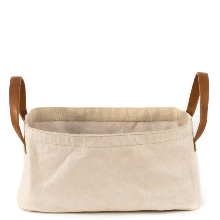 Canvas basket with brown leather handles
