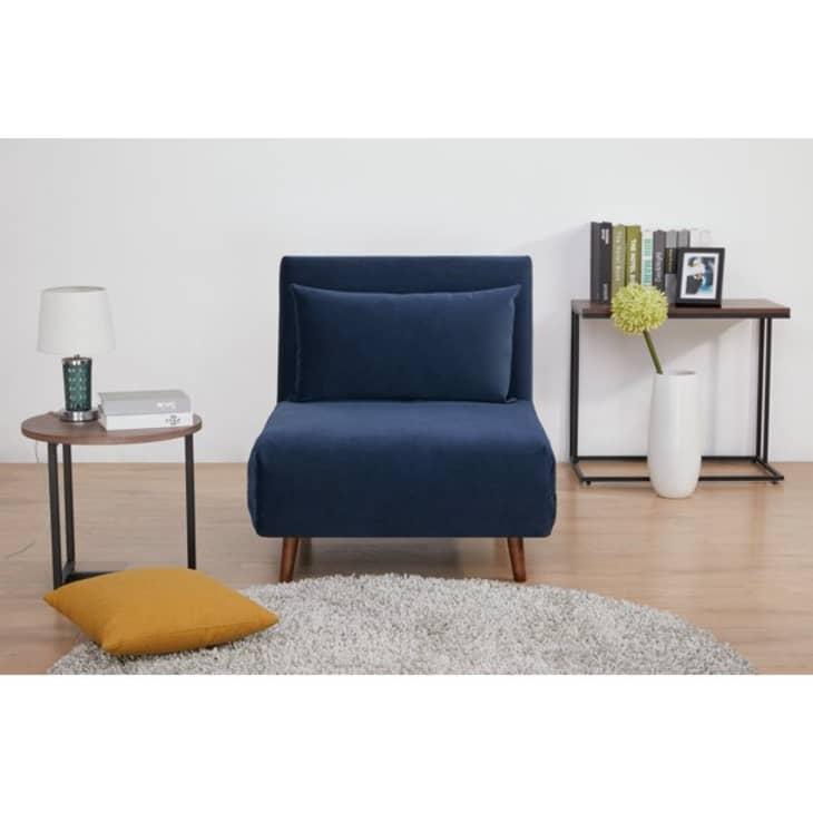 Blue velvet foldable sleeper chair