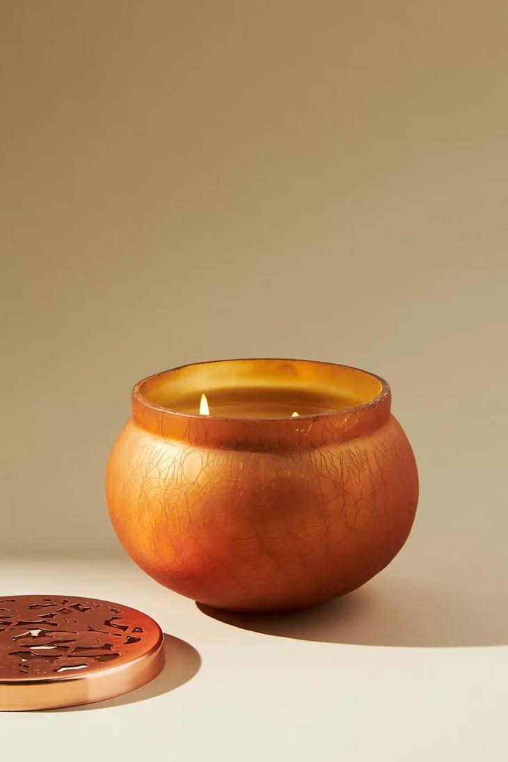 产品图片:南瓜甜香草金黄色玻璃罐蜡烛