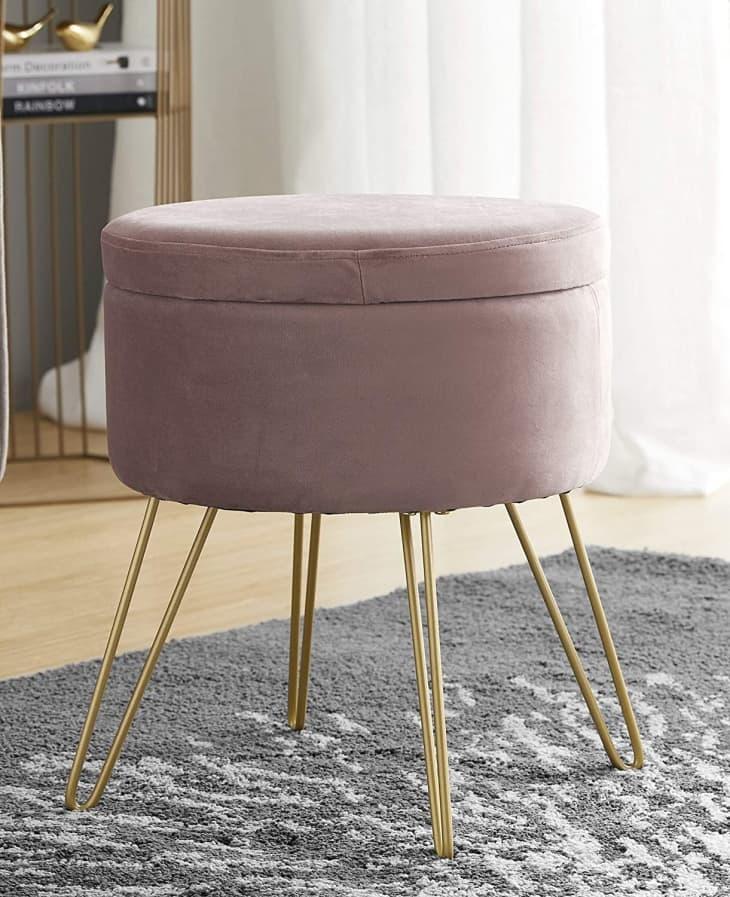 产品图片:Ornavo家居现代圆形天鹅绒存放奥斯曼脚休息凳