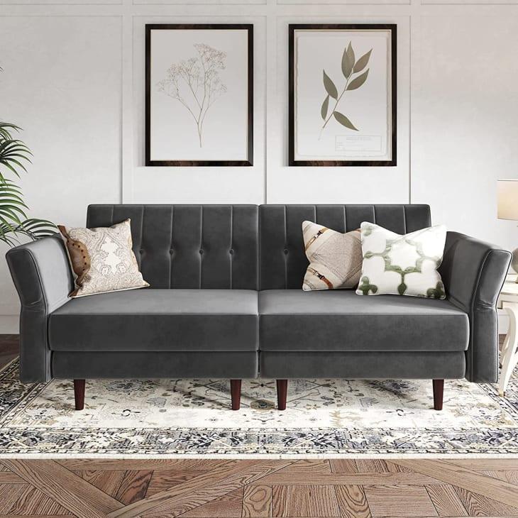 产品图片:Belffin天鹅绒敞篷蒲团沙发床