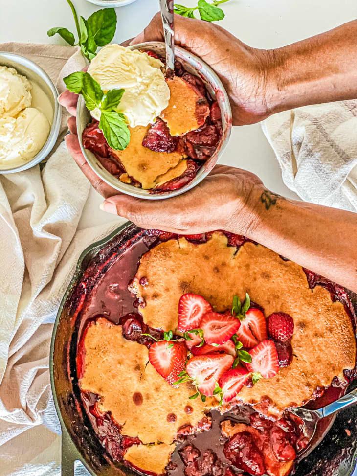 strawberry cornbread skillet cobbler