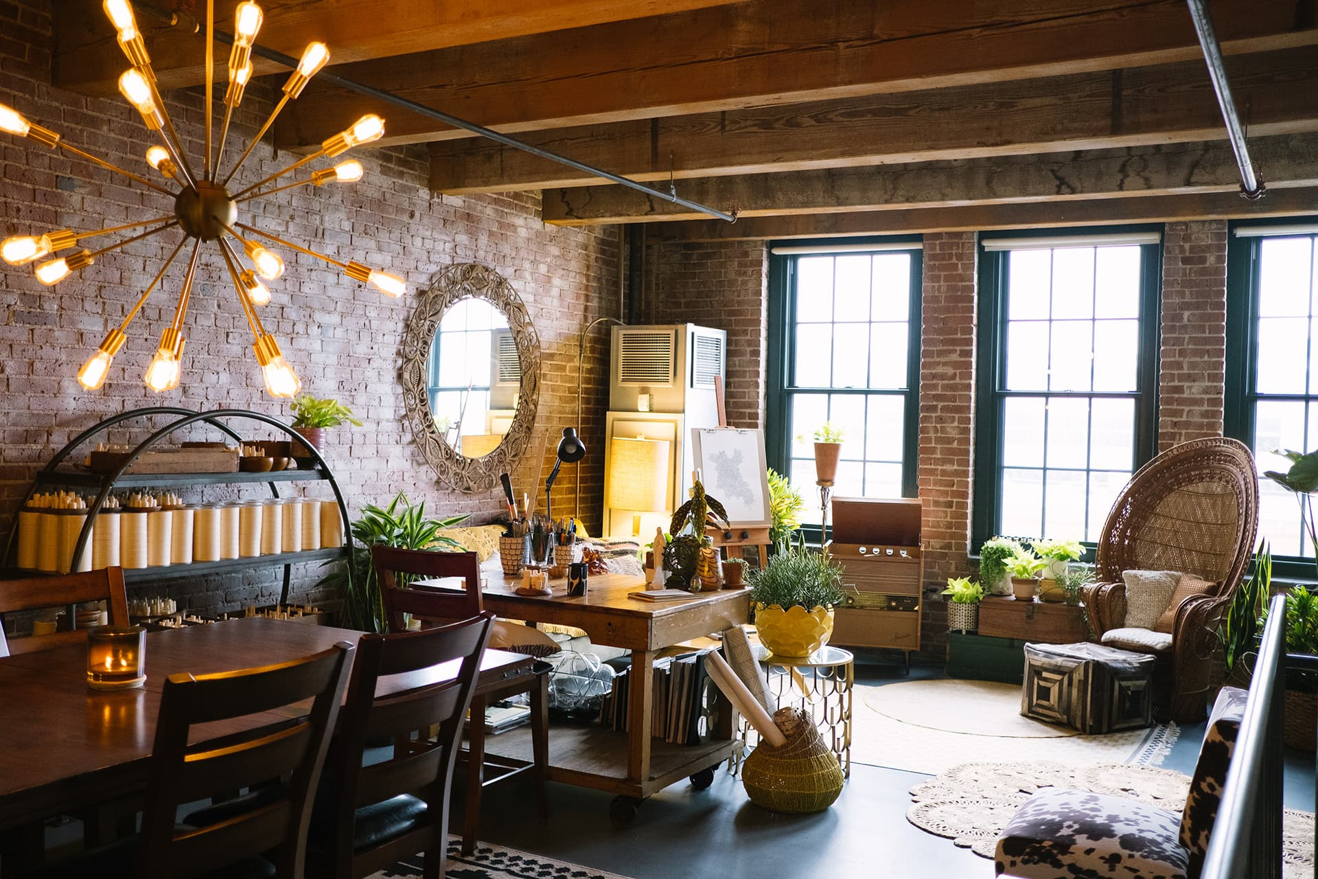 This Artist's Brick Boston Loft Is a Plant-Filled Boho Industrial Dream