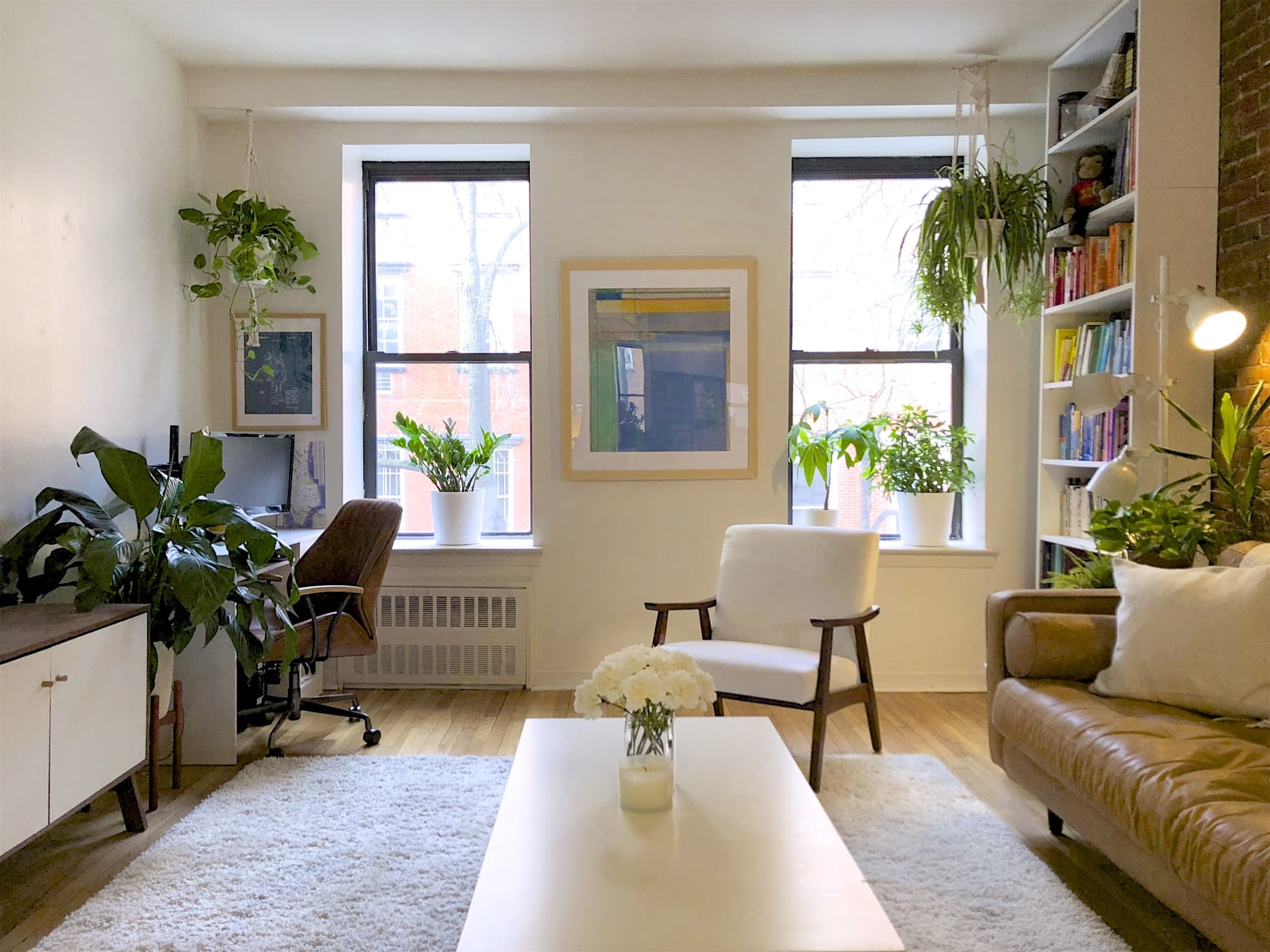 A Small NYC Apartment Has the Cutest Simple Plant Display Above the Bed