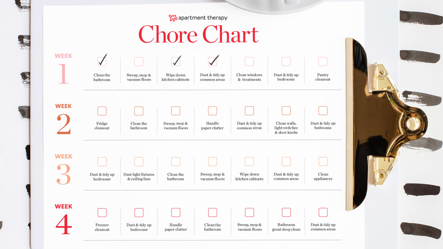 The Best Printable Weekly Chore Chart, Ever   Apartment Therapy