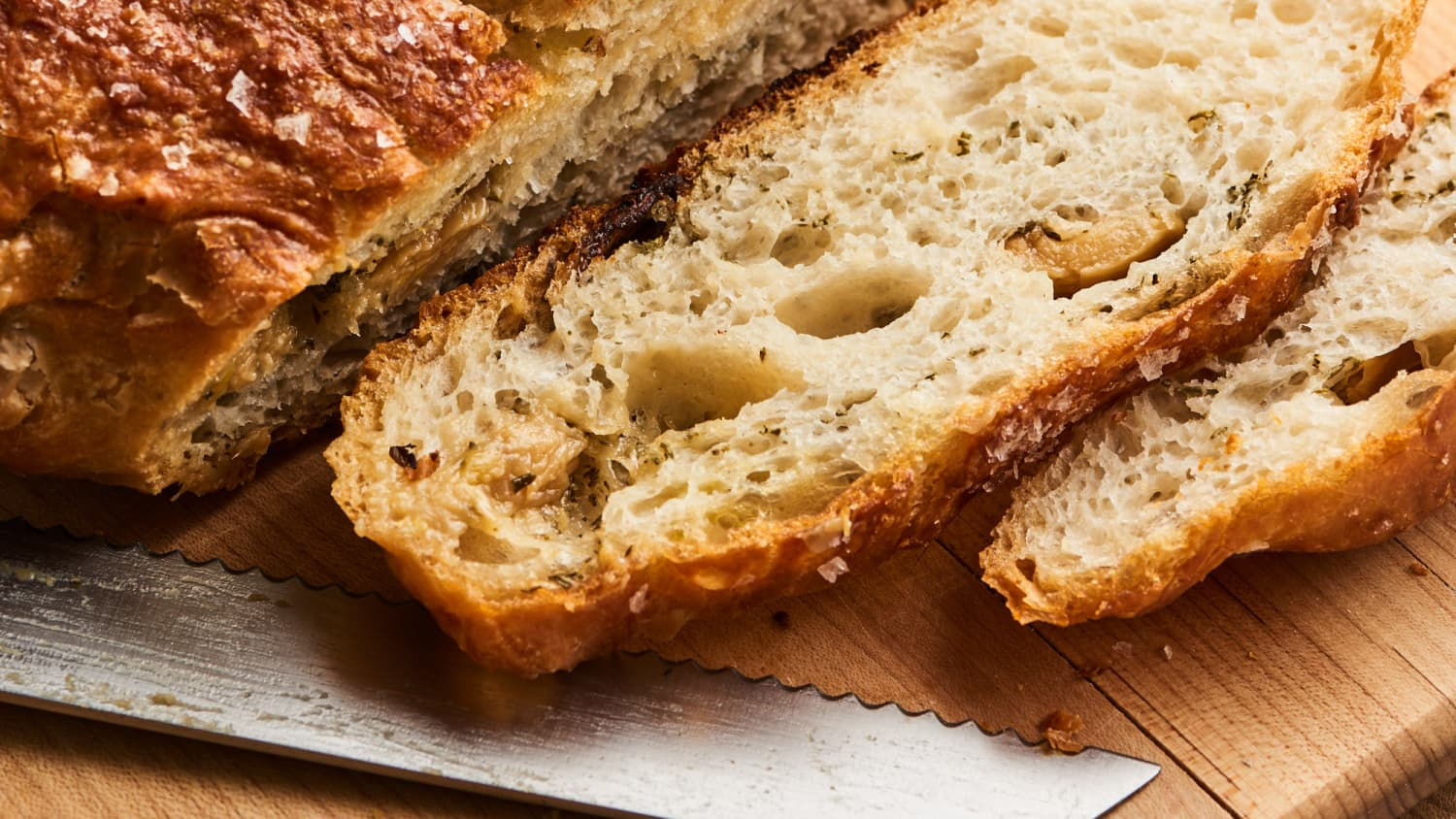 Roasted Garlic And Herb No Knead Bread Recipe Kitchn