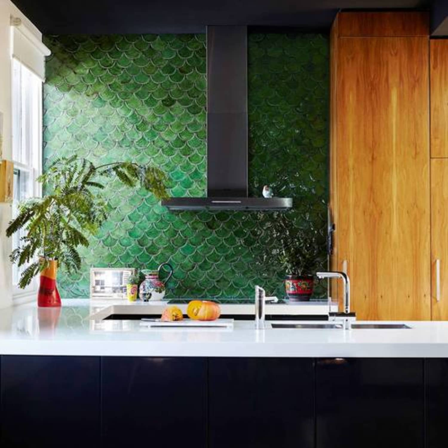 - Mermaid & Fish Scale Tiles In The Kitchen & Bathroom Apartment