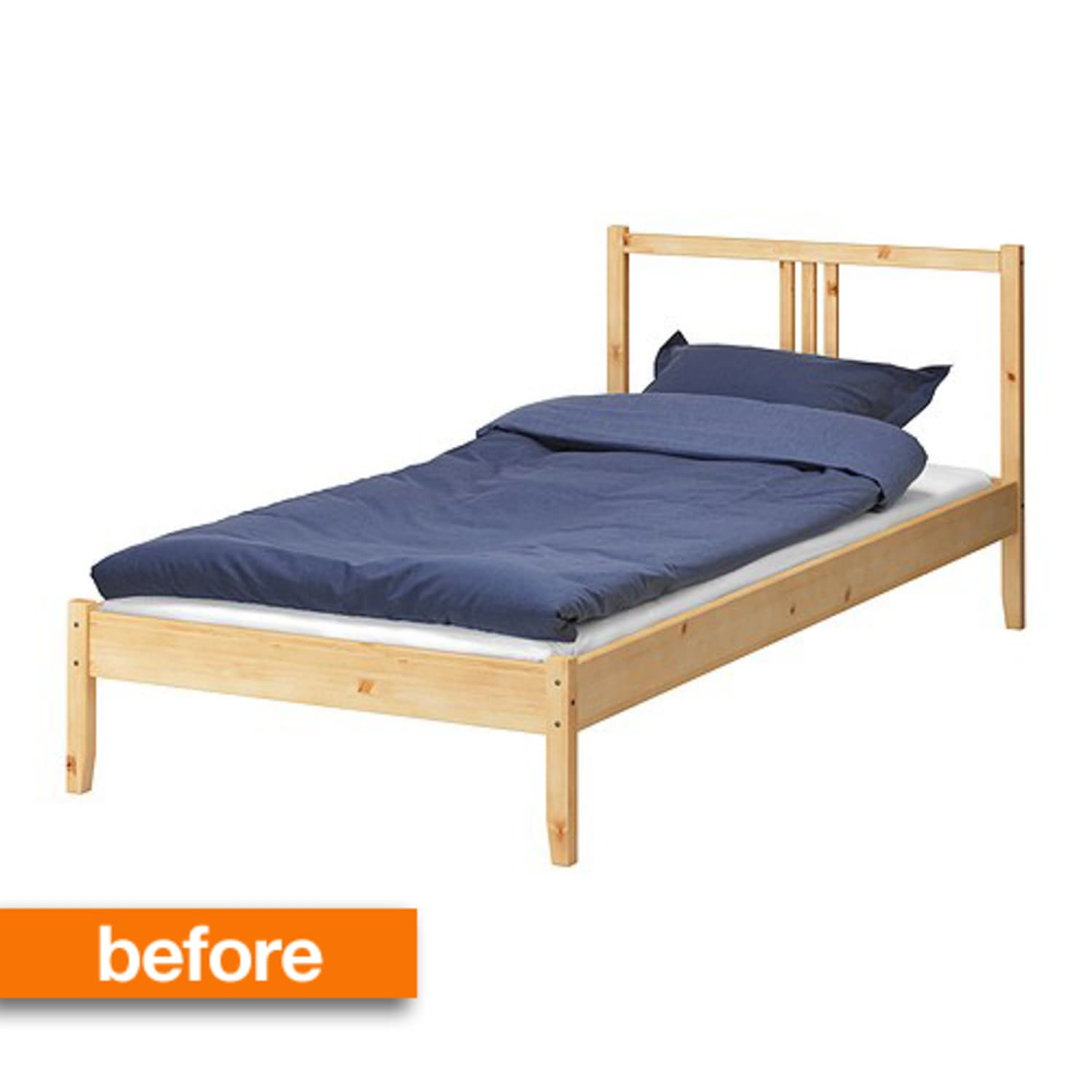 Before After Simple Ikea Wooden Bed Frame Gets A Luxe Upholstered Look Apartment Therapy