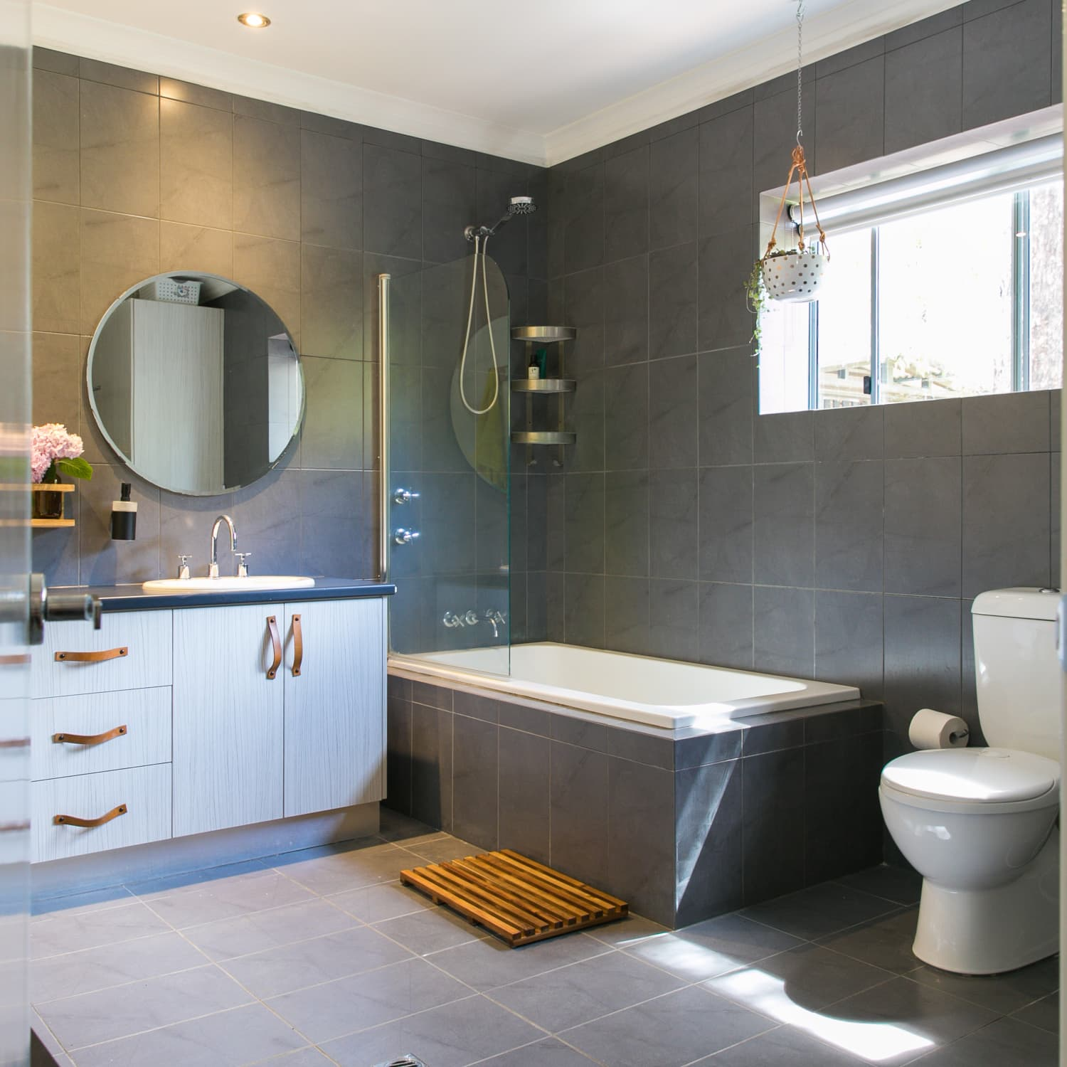Matching Tile Floors And Walls In The Bathroom Apartment Therapy