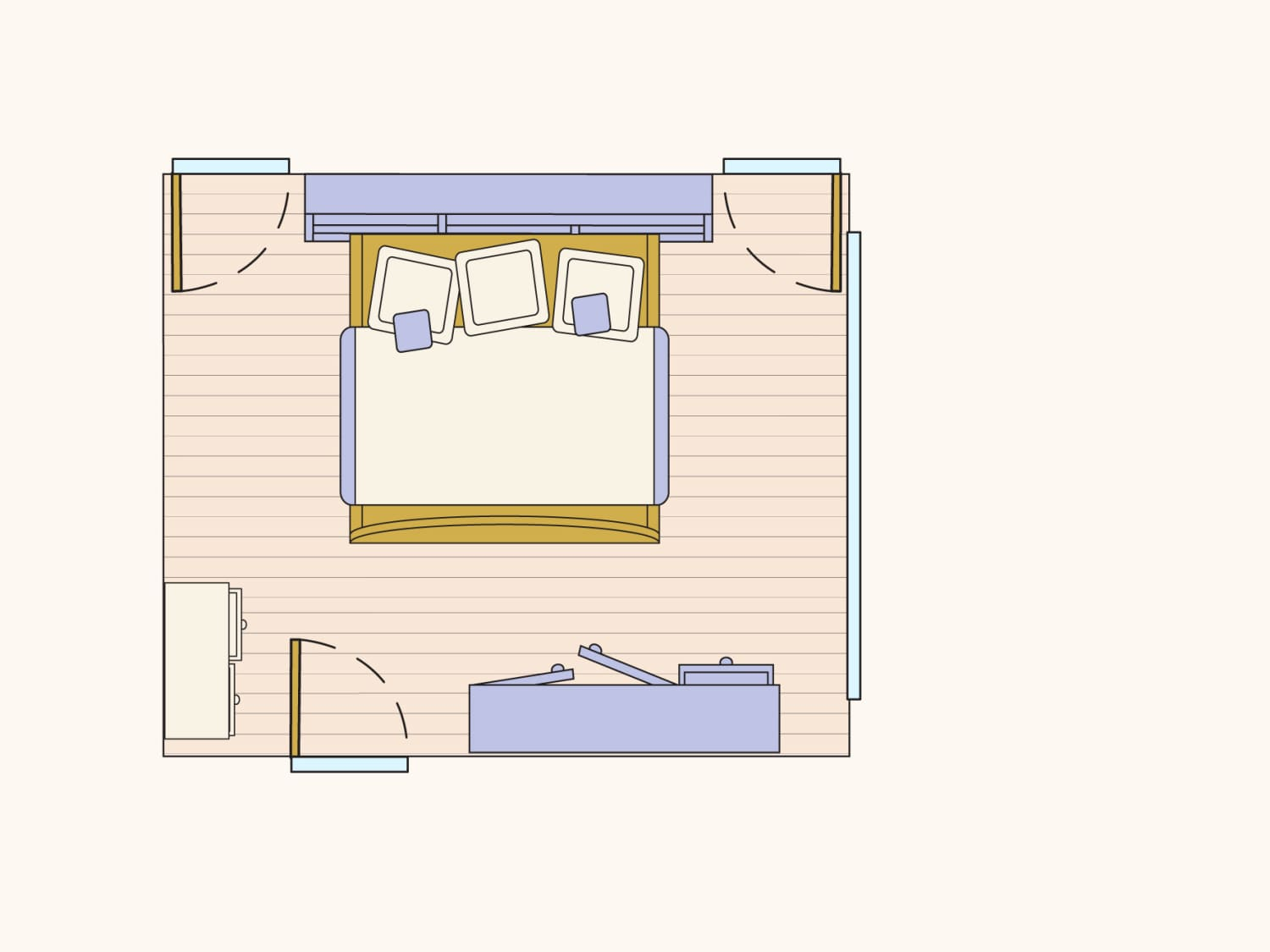 Find Your Best Bedroom Layout With A King Sized Bed Apartment Therapy