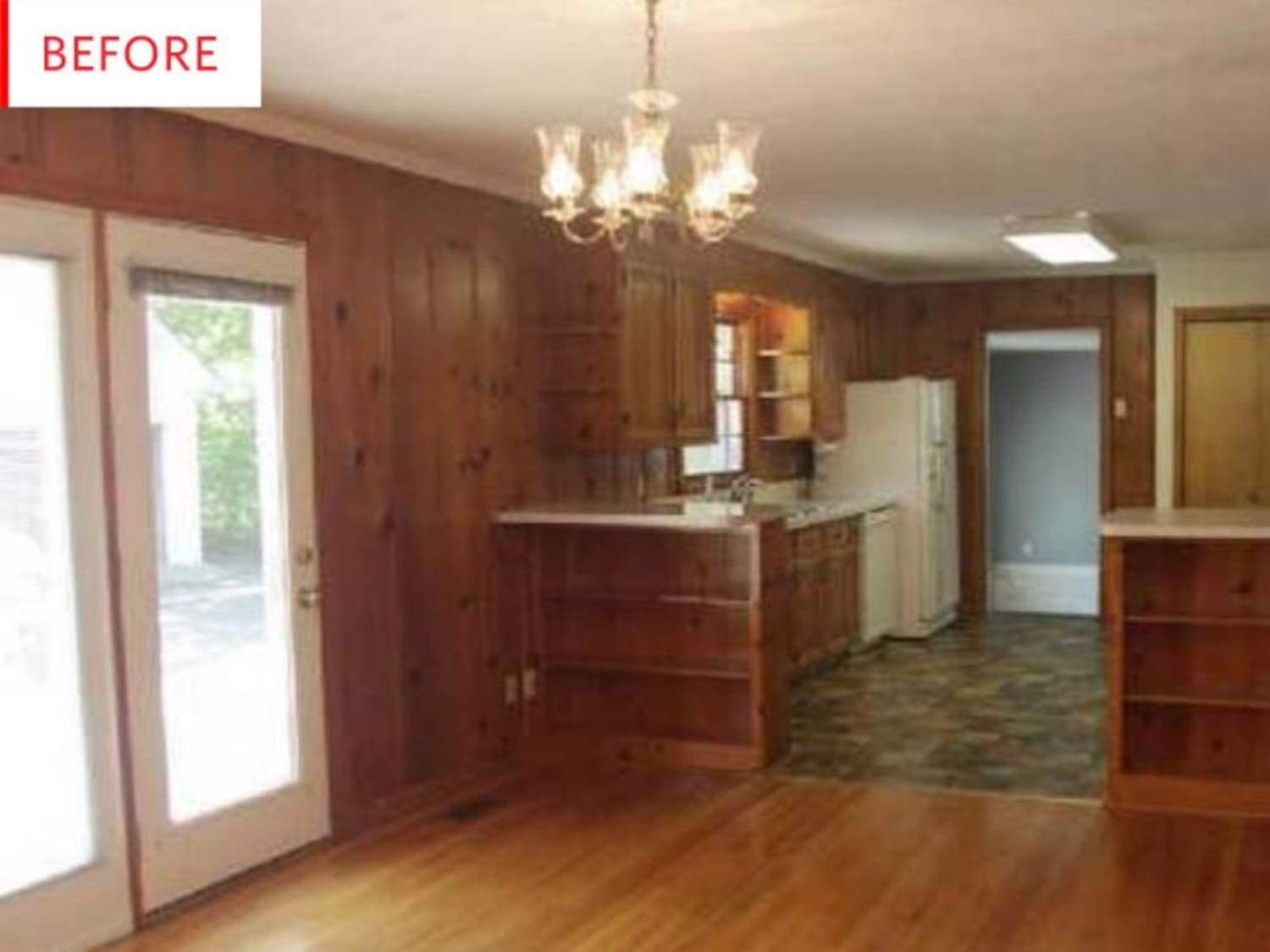 Before And After Black And White Paint Covers Up A Wood Paneling Kitchen Apartment Therapy