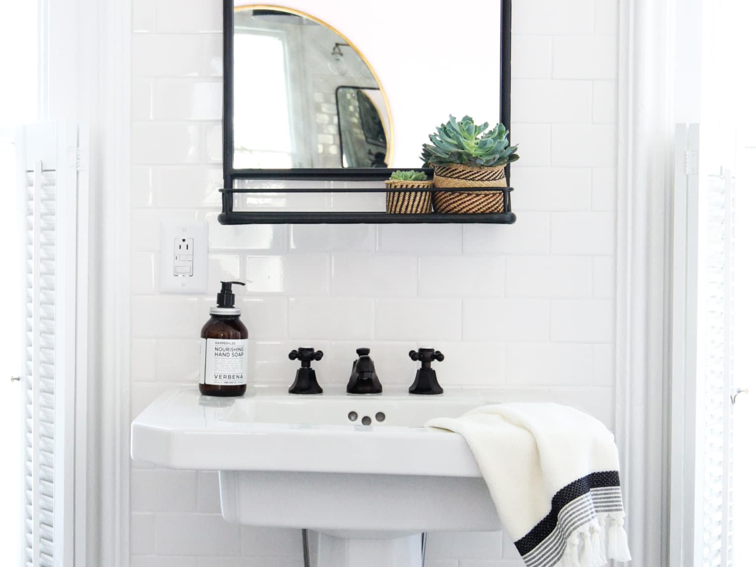 How To Hang A Bathroom Mirror On Ceramic Tile Apartment Therapy