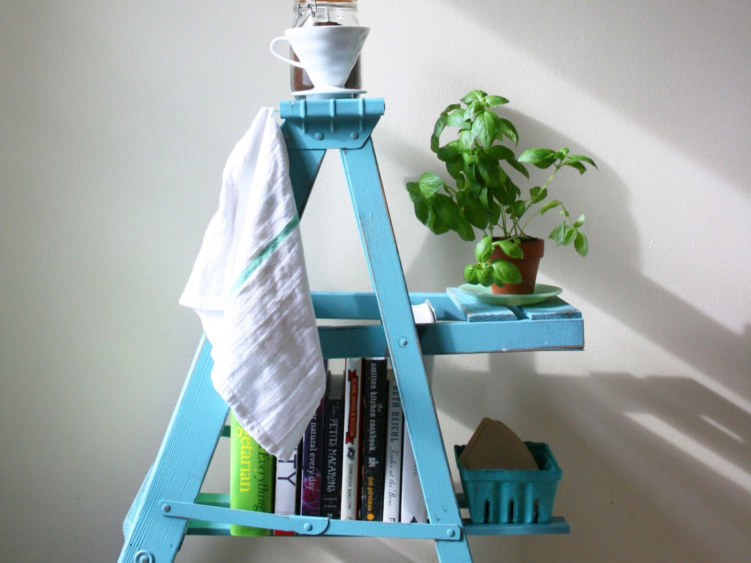 How To Turn An Old Ladder Into A Kitchen Storage Shelf Kitchn