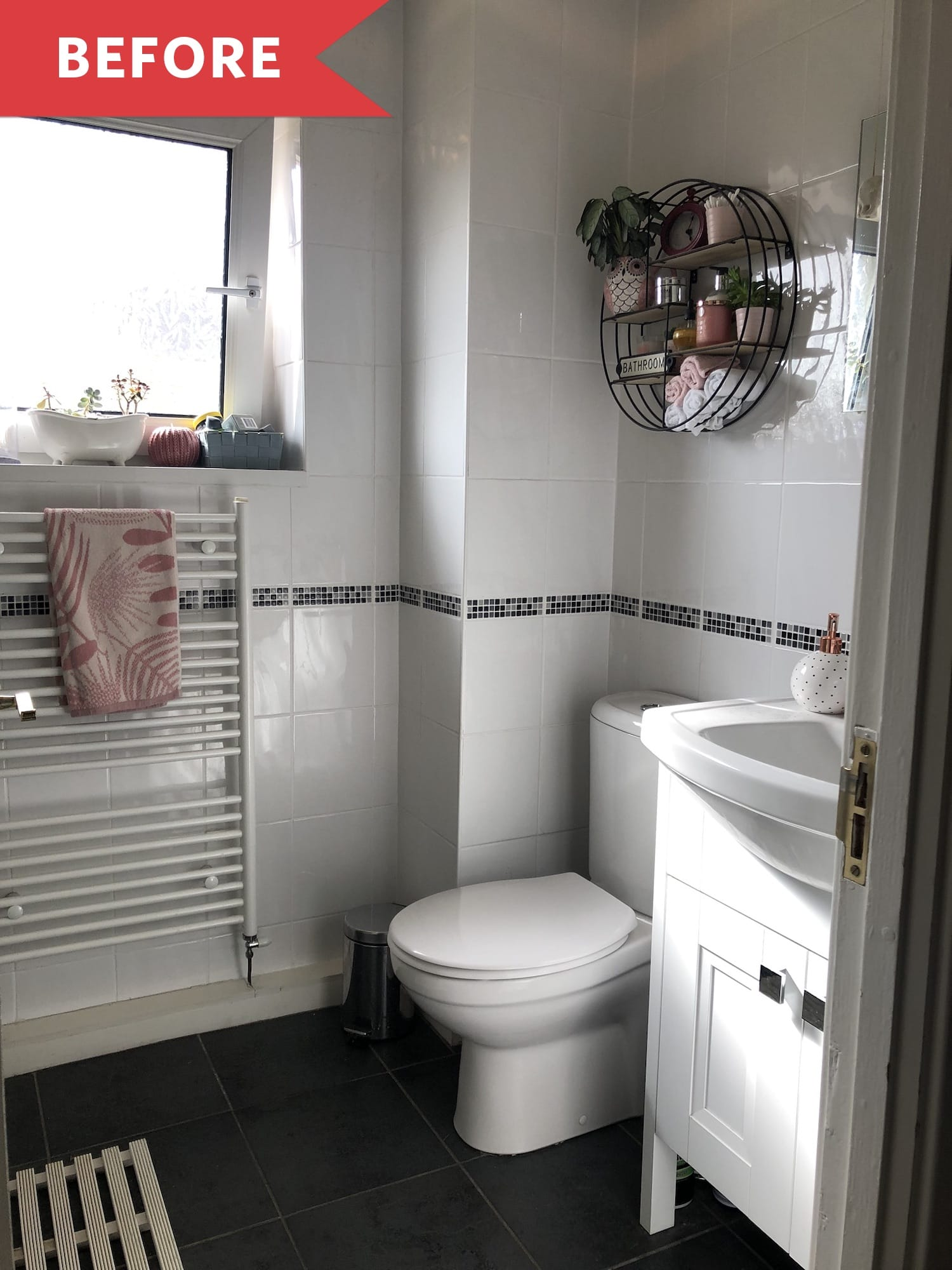 Before and After: A Plain White Bathroom Gets a Greenery-Filled Upgrade