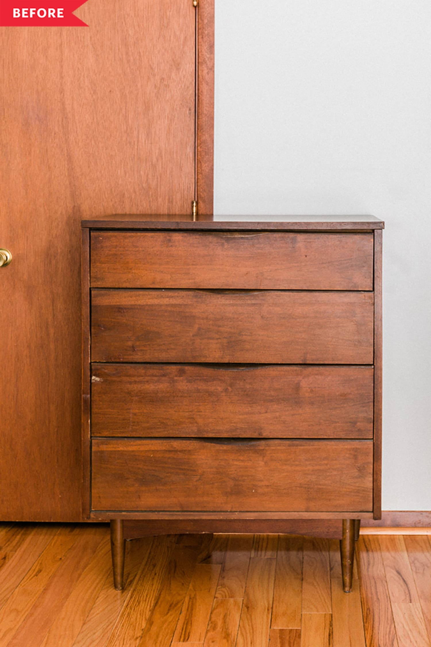Before and After: A Mid-Century-Approved Redo for This Damaged Dresser