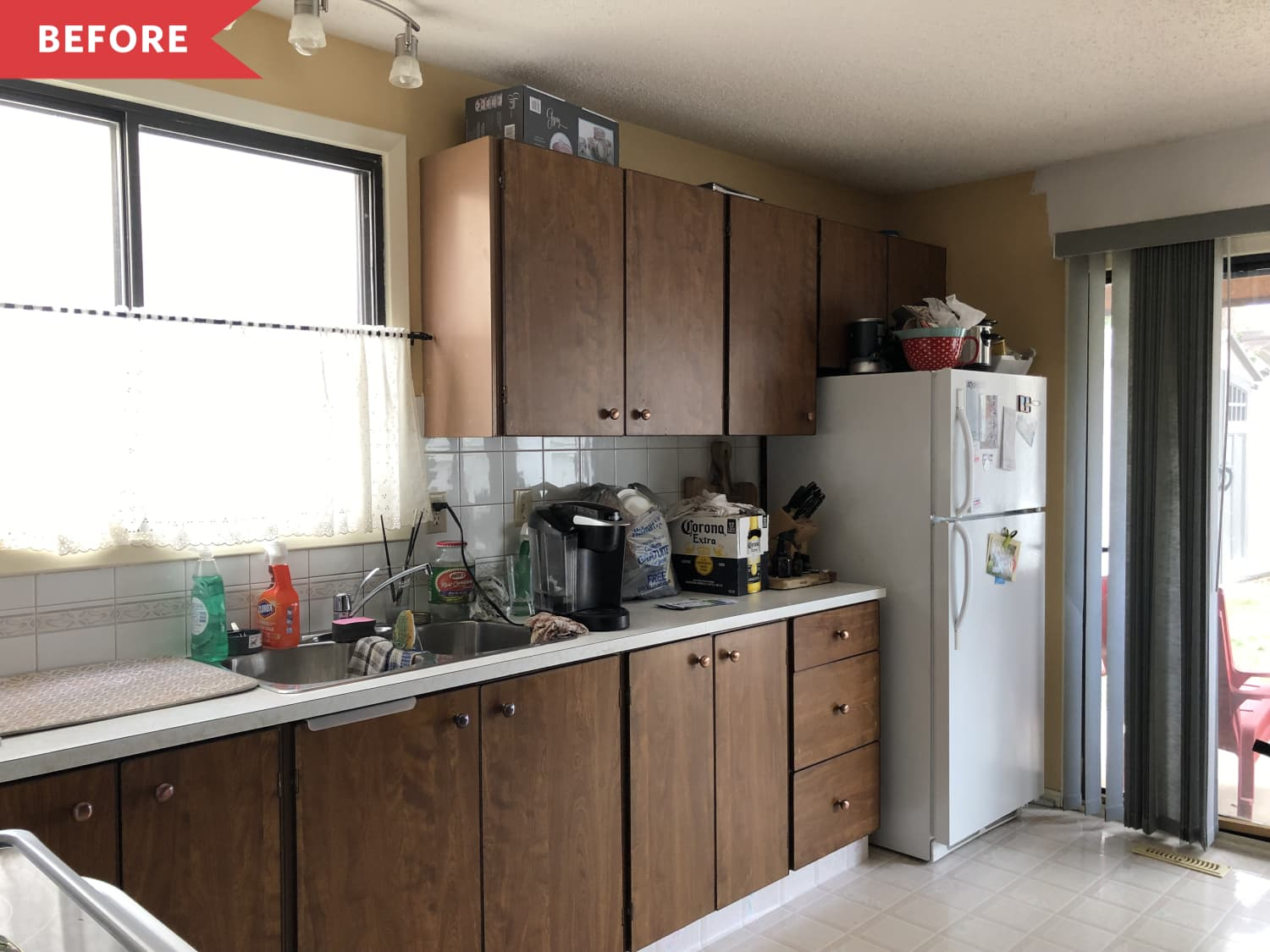 Before & After: Budget DIY Upgrades Totally Transformed This Kitchen and Its Dark Wood Cabinets