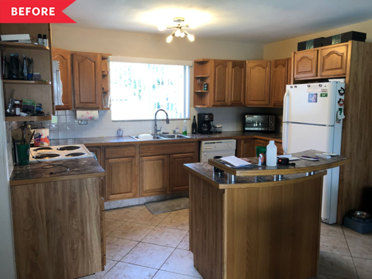 Before and After: This Dark Wood Kitchen Got a Bright White DIY Redo